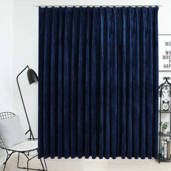 Zatemnitvena zavesa z obešali žametna temno modra 290x245 cm