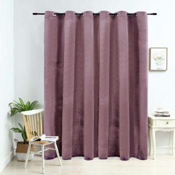 Zatemnitvena zavesa z obročki žametna starinsko roza 290x245 cm