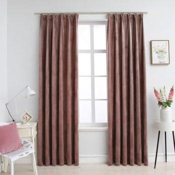 Zatemnitvene zavese 2 kosa z obešali žametne roza 140x175 cm