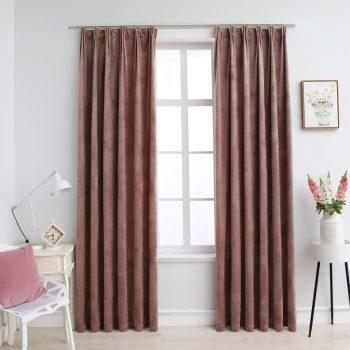 Zatemnitvene zavese 2 kosa z obešali žametne roza 140x225 cm