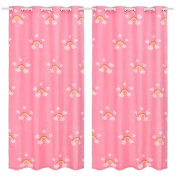 Zatemnitvene zavese otroške 2 kosa 140x240 cm mavrica roza