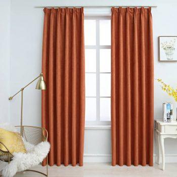 Zatemnitvene zavese z obešali 2 kosa rjaste 140x175 cm