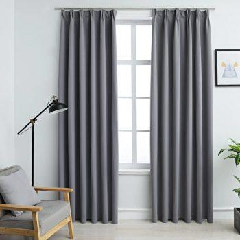 Zatemnitvene zavese z obešali 2 kosa sive 140x245 cm