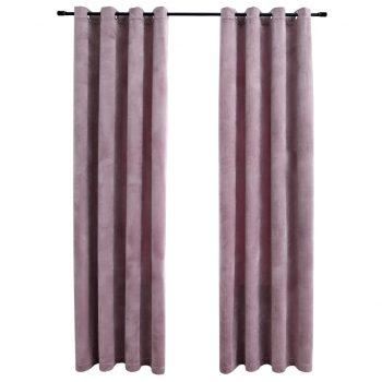 Zatemnitvene zavese z obročki 2 kosa žamet roza 140x175 cm