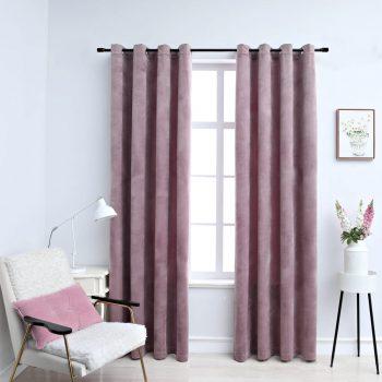 Zatemnitvene zavese z obročki 2 kosa žamet roza 140x225 cm
