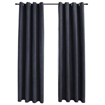 Zatemnitvene zavese z obročki 2 kosa antracitne 140x245 cm