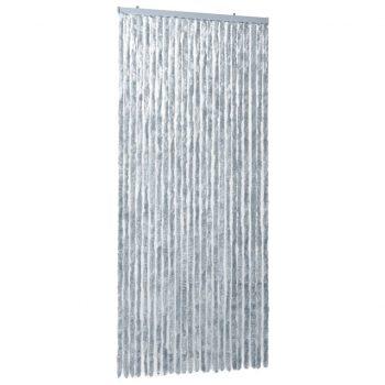 Zavesa proti mrčesu iz šenilje 100x220 cm bela in siva