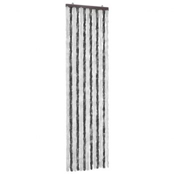 Zavesa proti mrčesu iz šenilje 56x185 cm siva in bela