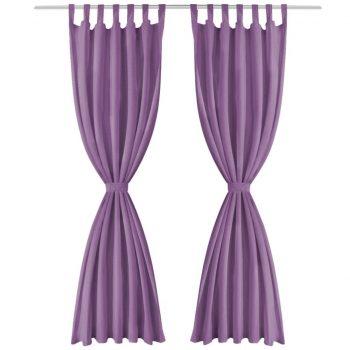 Zavese iz mikro satena 2 kosa z zankami 140x175 cm lila barve