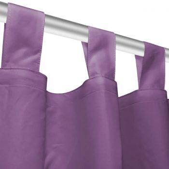 Zavese iz mikro satena 2 kosa z zankami 140x225 cm lila barve