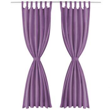 Zavese iz mikro satena 2 kosa z zankami 140x245 cm lila barve