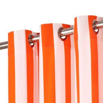 Zavese s kovinskimi obročki 2 kosa blago 140x175cm oranžne črte