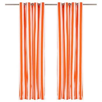 Zavese s kovinskimi obročki 2 kosa blago 140x225cm oranžne črte
