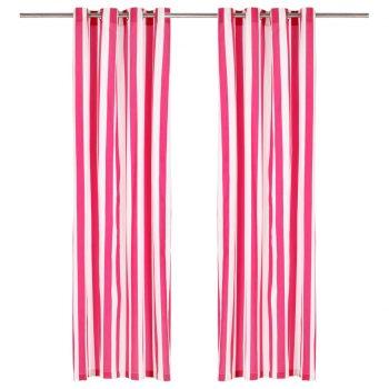 Zavese s kovinskimi obročki 2 kosa blago 140x245 cm roza črte
