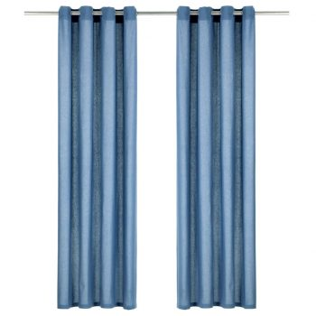 Zavese s kovinskimi obročki 2 kosa bombaž 140x175 cm modre