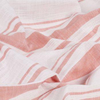Zavese s kovinskimi obročki 2 kosa bombaž 140x175 cm roza črte
