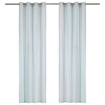 Zavese s kovinskimi obročki 2 kosa bombaž 140x225 cm modre črte