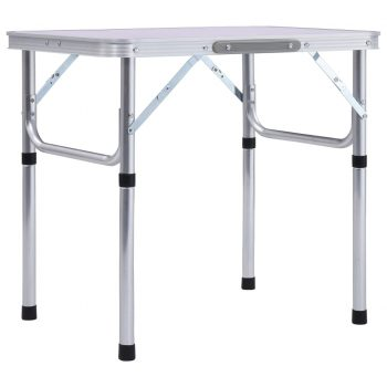 Zložljiva miza za kampiranje bela iz aluminija 60x45 cm