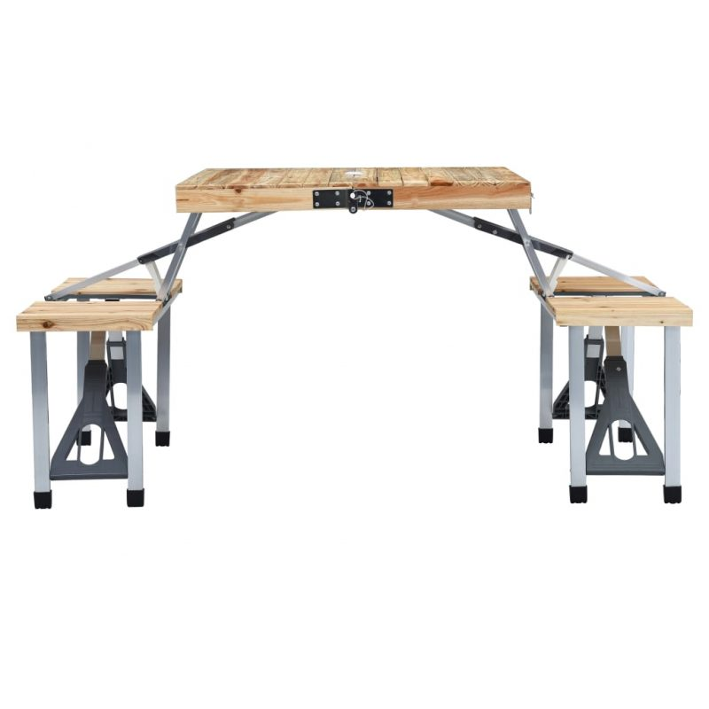 Zložljiva miza za kampiranje s 4 sedeži jeklo aluminij