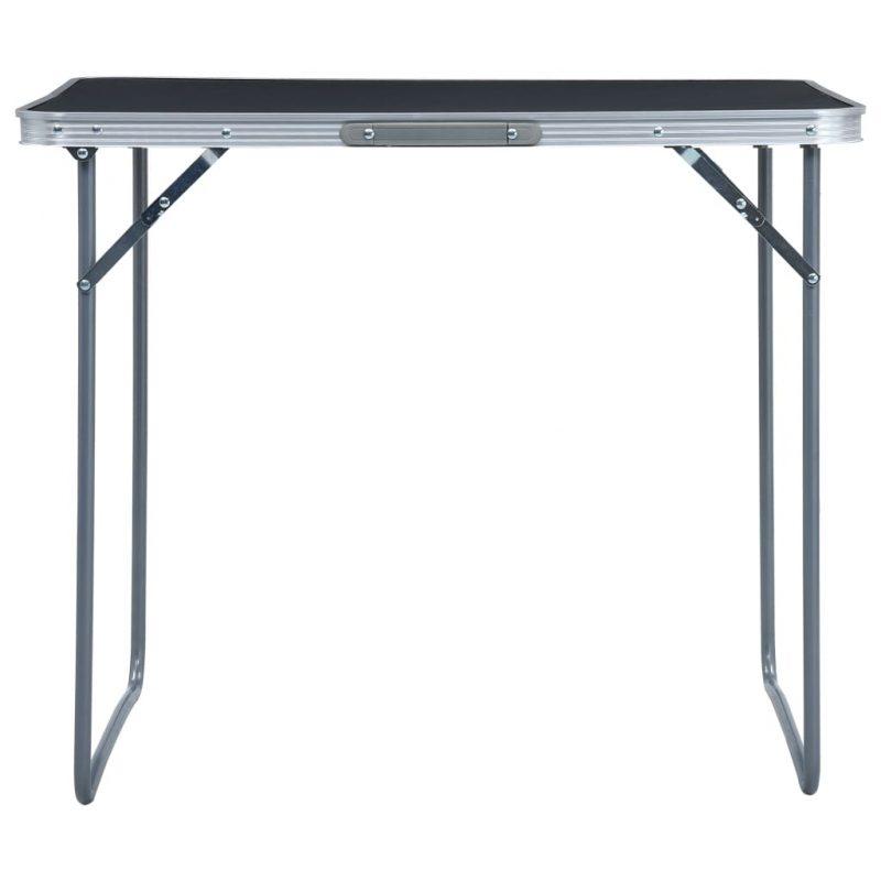 Zložljiva miza za kampiranje s kovinskim okvirjem 80x60 cm siva