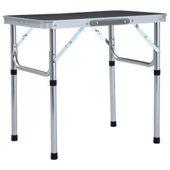 Zložljiva miza za kampiranje siva iz aluminija 60x45 cm