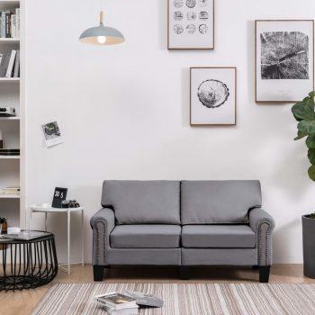 Kavč dvosed svetlo sivo blago