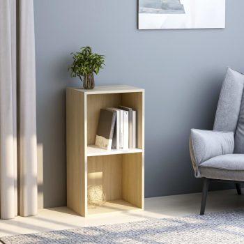 Knjižna omara 2-nadstropna bela in sonoma hrast 40x30x76