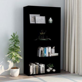 Knjižna omara 4-nadstropna črna 80x30x151