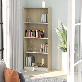 Knjižna omara 4-nadstropna bela in sonoma hrast 60x24x142 cm