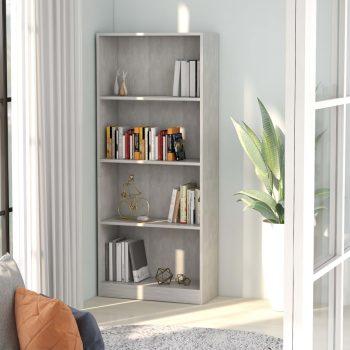 Knjižna omara 4-nadstropna betonsko siva 60x24x142 cm