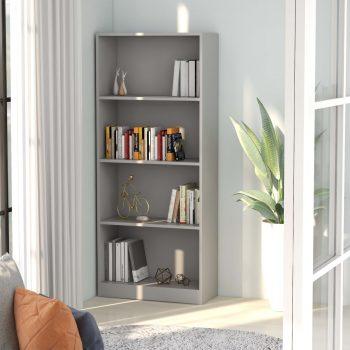 Knjižna omara 4-nadstropna siva 60x24x142 cm iverna plošča