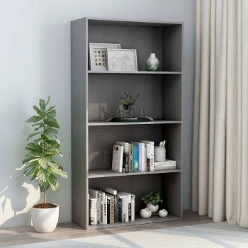 Knjižna omara 4-nadstropna siva 80x30x151
