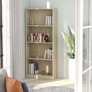 Knjižna omara 4-nadstropna sonoma hrast 60x24x142 cm iverna pl.