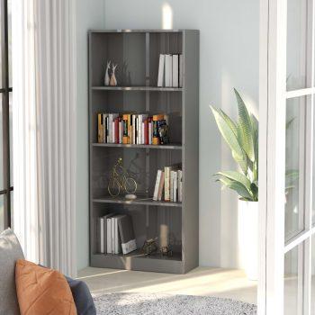 Knjižna omara 4-nadstropna visok sijaj siva 60x24x142 cm