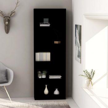 Knjižna omara 5-nadstropna črna 60x24x175 cm iverna plošča