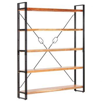 Knjižna omara 5-nadstropna 140x30x180 cm trden akacijev les