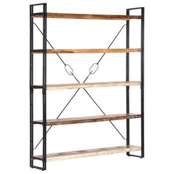 Knjižna omara 5-nadstropna 140x30x180 cm trden predelan les
