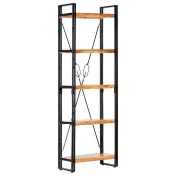 Knjižna omara 5-nadstropna 60x30x180 cm trden akacijev les