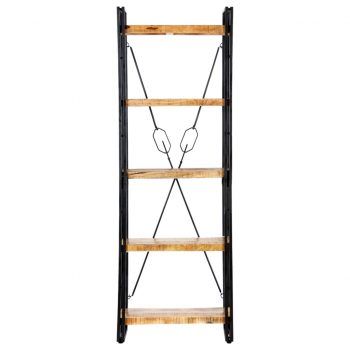 Knjižna omara 5-nadstropna 60x30x180 cm trden mangov les
