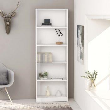 Knjižna omara 5-nadstropna bela 60x24x175 cm iverna plošča