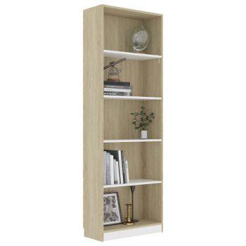 Knjižna omara 5-nadstropna bela in sonoma hrast 60x24x175 cm