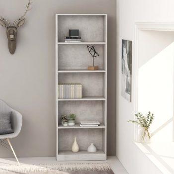 Knjižna omara 5-nadstropna betonsko siva 60x24x175 cm