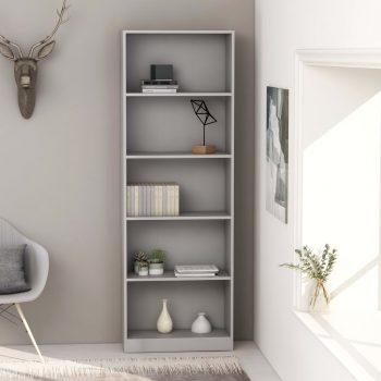 Knjižna omara 5-nadstropna siva 60x24x175 cm iverna plošča