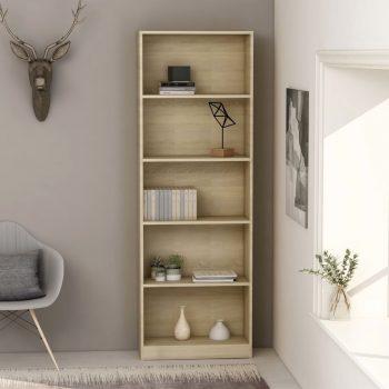 Knjižna omara 5-nadstropna sonoma hrast 60x24x175 cm iverna pl.
