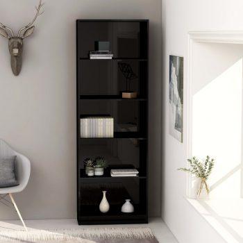 Knjižna omara 5-nadstropna visok sijaj črna 60x24x175 cm