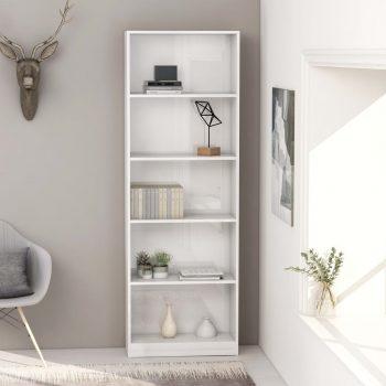 Knjižna omara 5-nadstropna visok sijaj bela 60x24x175 cm