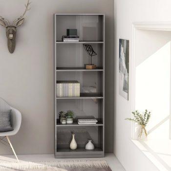 Knjižna omara 5-nadstropna visok sijaj siva 60x24x175 cm