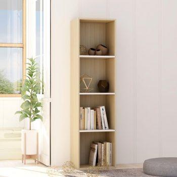 Knjižna omara bela in sonoma hrast 40x30x151