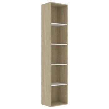 Knjižna omara bela in sonoma hrast 40x30x189 cm iverna plošča