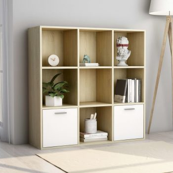 Knjižna omara bela in sonoma hrast 98x30x98 cm iverna plošča